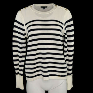 Tommy Hilfiger Striped Sweater Ivory Navy XL NWT